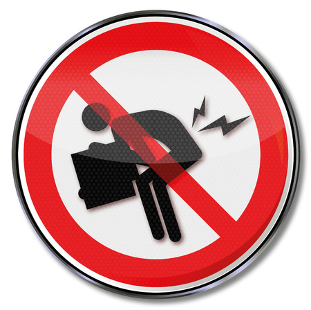 Prohibition sign against the herniated disc