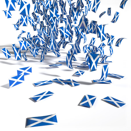 scots: Many leaflets and flags of Scotland