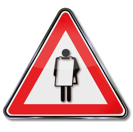 Sign with man and poster on the body Vector