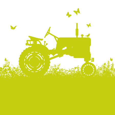 old time: Tractor on meadow