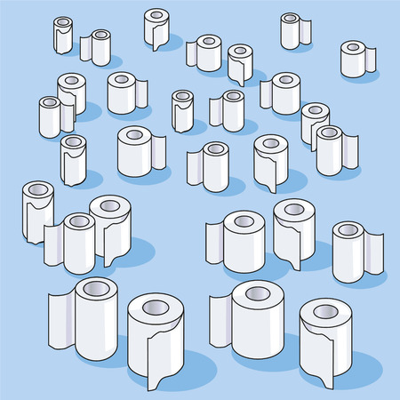 Many small toilet paper rolls and paper