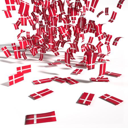 hard rain: Many leaflets and flags of Denmark