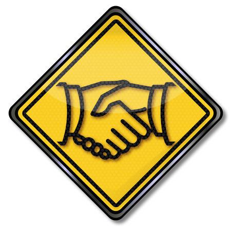 community recognition: Sign handshake and friendship Illustration