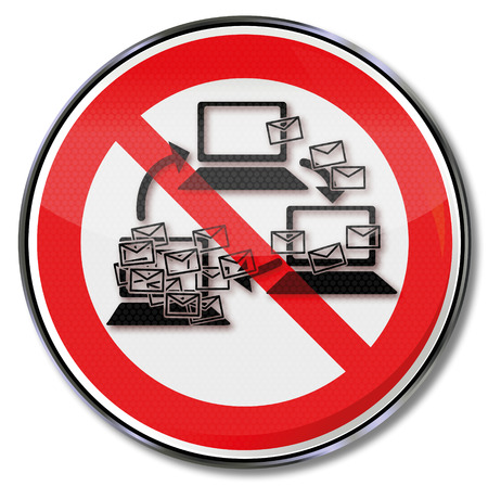 Computer sign Prohibition sign for botnet and spam mails Vector