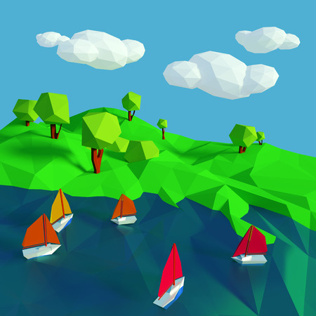 gust: Low poly with many small sailboats on the lake