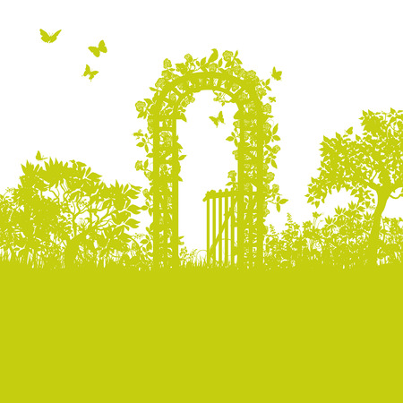 Blades of grass and gate of roses Vector