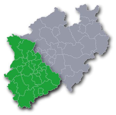 Map of NRW with Rheinland