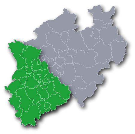 Map of NRW with Rheinland