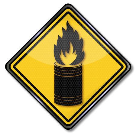garbage bin: Firmar con un cubo de basura en llamas Vectores