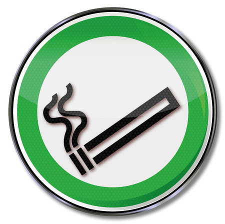 smoking cigarette: Sign with a smoking cigarette Illustration