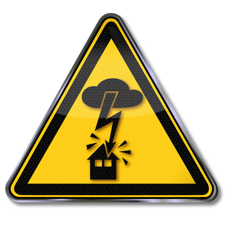 Danger sign warning of electric shock from lightning into the house