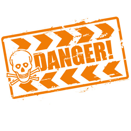 toxic substances: Stamp danger with a skull
