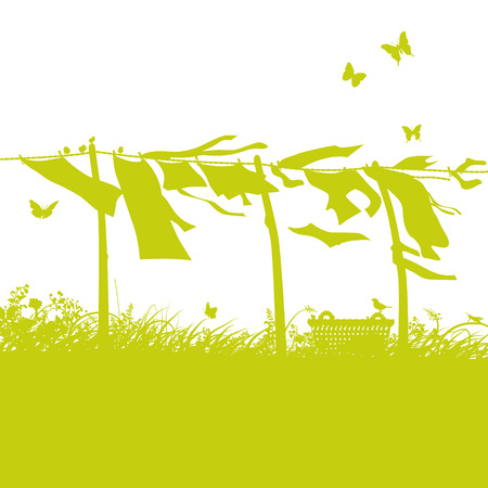 Waving laundry on the clothesline Vector