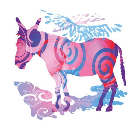 fortunately: Colored donkey Illustration