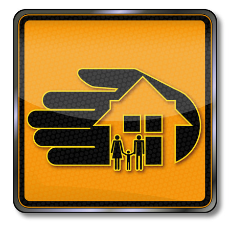 family policy: Sign with housing and home insurance Illustration