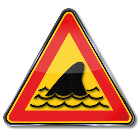 fluke: Sign with shark fin and underwater attack Illustration