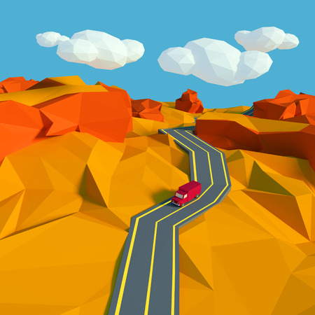 Small landscape with a road in the desert and low poly photo