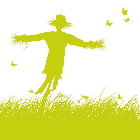 espantapajaros: Hojas de hierba y espantapájaros