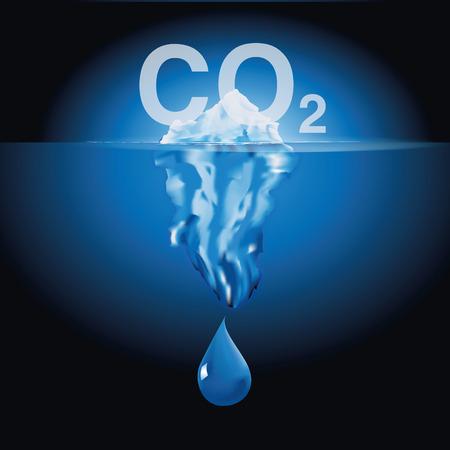 dioxido de carbono: Iceberg y catástrofe climática Vectores