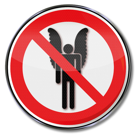 fortunately: Prohibition sign for people with wings Illustration