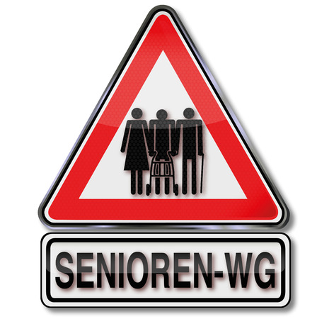 commune: Sign seniors commune and old people sharing an apartment