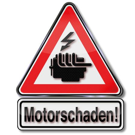 seizures: Sign Caution engine failure Illustration