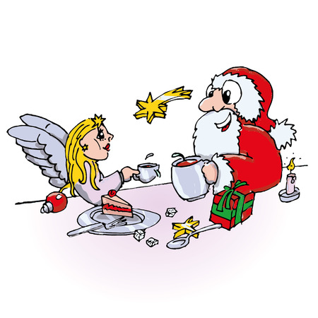 fortunately: Santa claus and little angel are drinking coffee together Illustration