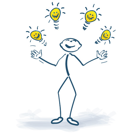 Stick figure with light bulbs and Ideas Vettoriali