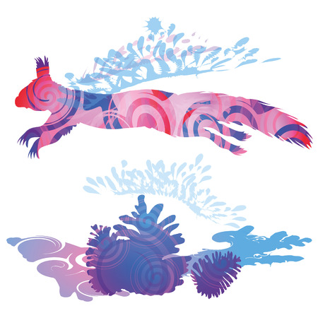 nimble: Blob shadow squirrel jumping over the nut Illustration