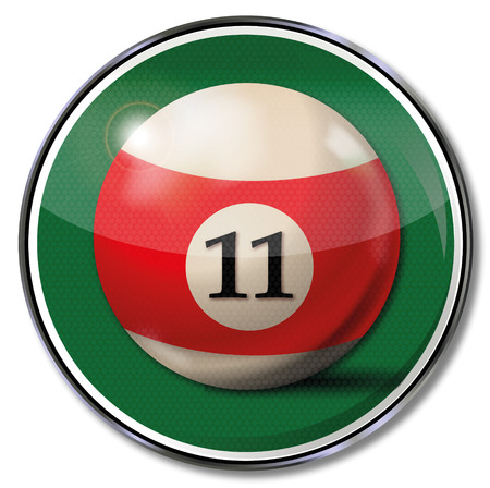 11 number: Sign billiard ball number 11