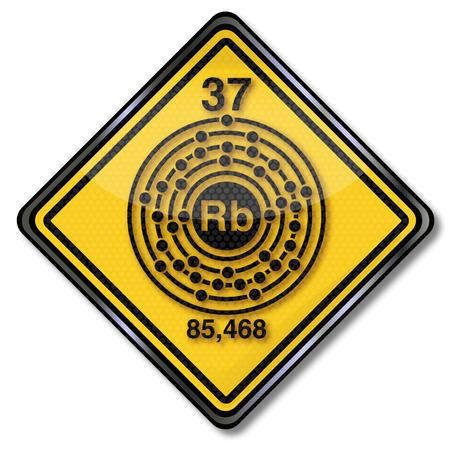 electron shell: Sign chemistry character rubidium