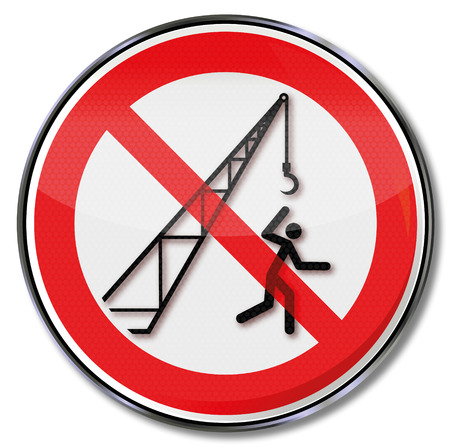 workplace safety: Prohibition sign caution crane and crane hooks