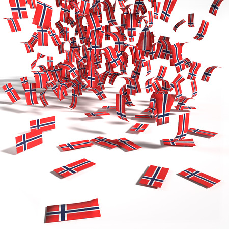hard rain: Many labels and flags of Norway Stock Photo