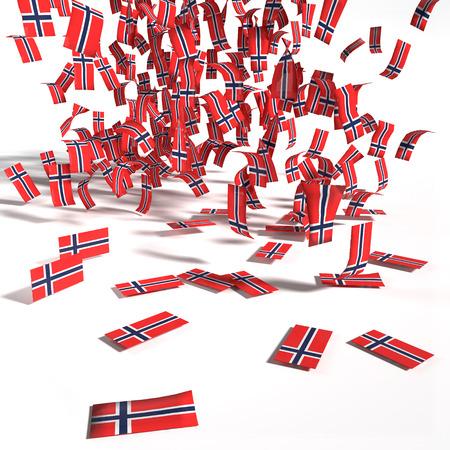 constitucion: Muchas etiquetas y banderas de Noruega
