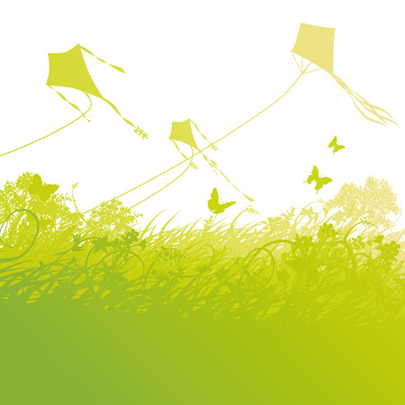 free time: Kite flying in the air Illustration