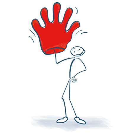 fortunately: Stick figure with big red glove