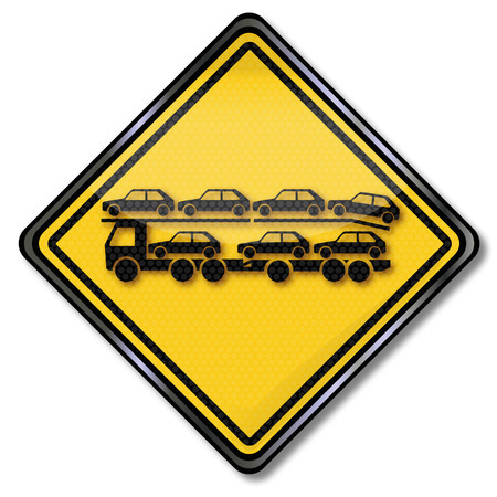 slowdown: Sign with car transporter