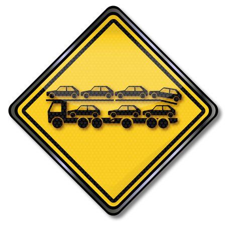 transporter: Sign with car transporter