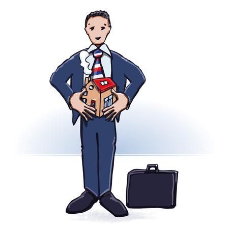 home grown: Businessman or manager with house and home construction