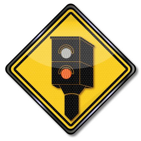 Sign Caution radar and lightning Vector