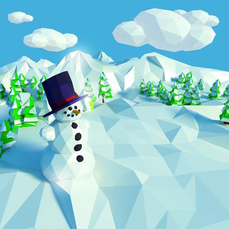 Cute snowman in snowy landscape photo