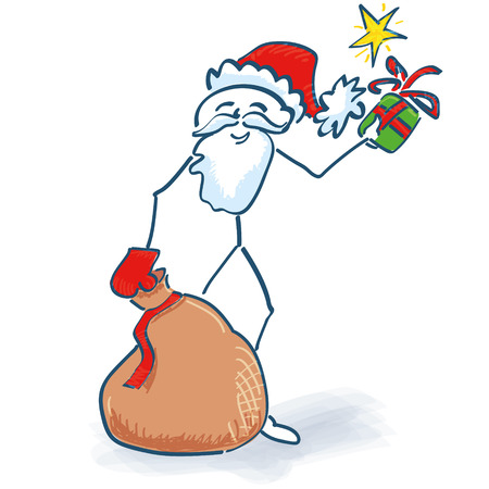 night stick: Stick Figure Santa Claus with gifts bag Illustration