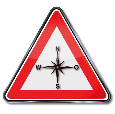 disorientation: Sign compass, compass rose, indicating the direction and orientation