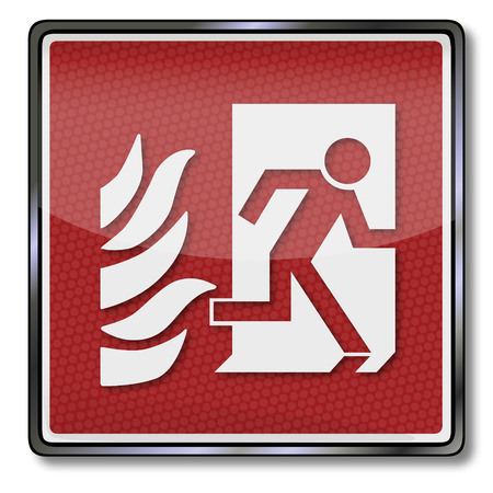 detectors: In case of fire exit sign and emergency exit to the right Illustration