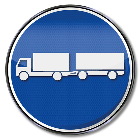 slowdown: Sign with a long truck Illustration