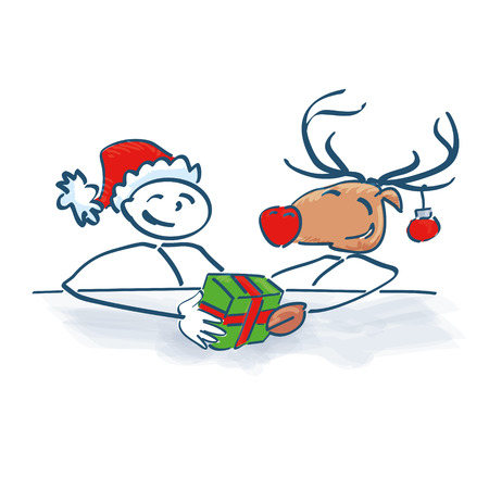 Stick Figure Santa Claus with reindeer at Christmas party Vector