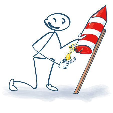 Stick figure with a rocket Illustration