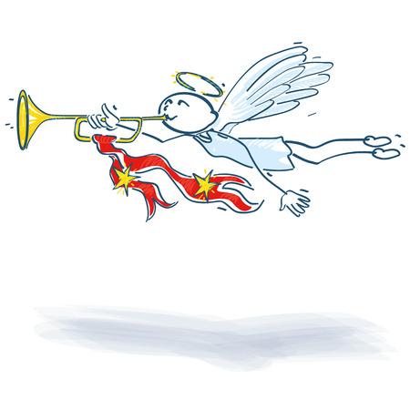 night stick: Stick Figure angel with a trumpet