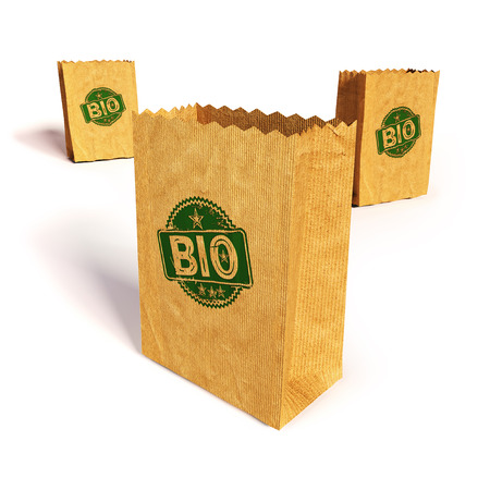 fortunately: Paper bags with bio Stock Photo