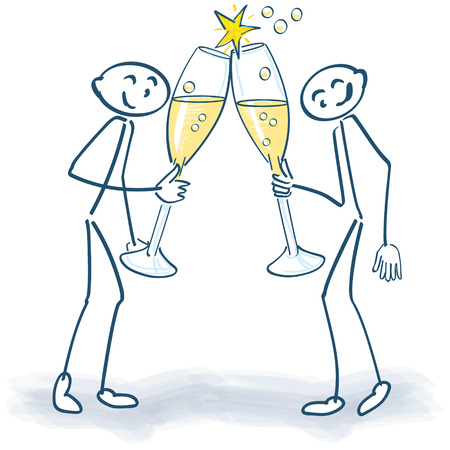 Stick figure with champagne glasses Imagens - 34315834